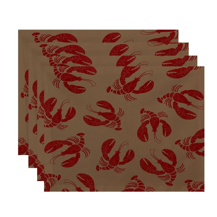 E by Design Lobster Fest Animal Print Placemats (Set of 4) (Taupe), Brown, Size 20 x 14