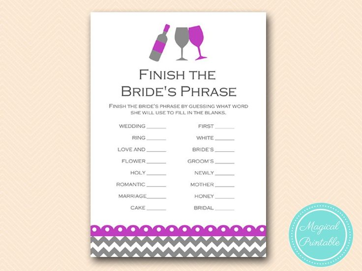Purple Wine Theme Bridal Shower Game Package, Instant Download, Winery Bridal Shower Games, Purple Winery Games, Bridal Shower Games