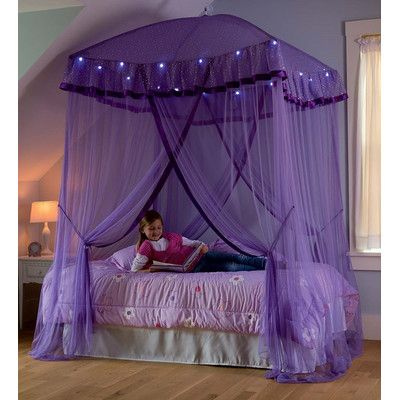 Sparkling Lights Bed Canopy Bed For Girls Room Fairy