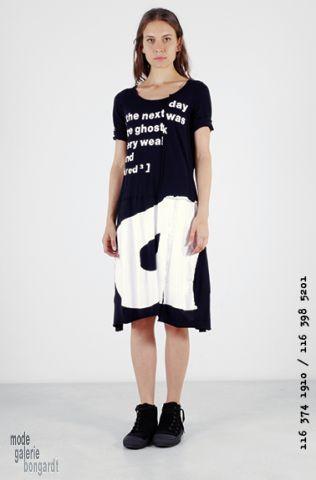 """www.modegalerie-bongardt.de - rundholz mode, rundholz black label, Rundholz DIP Rundholz black label summer 2016 fancy asym. balloon-shaped tunic/dress print """"white on black"""" 3741910-S16"""