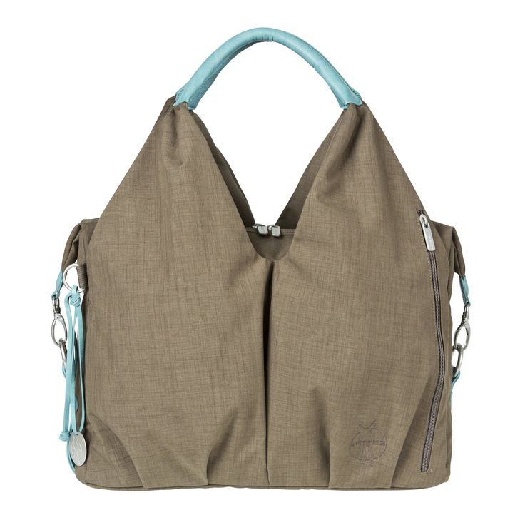 Lassig Green Label Neckline Style Diaper Shoulder Bag with Matching Bottle Holder, Baby Changing Mat/Pad and Stroller Hooks, Taupe