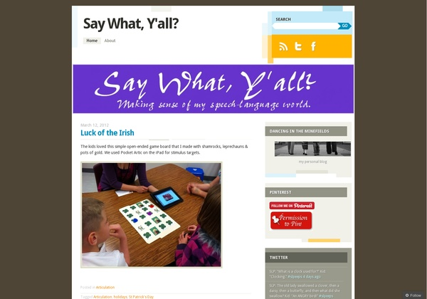 SLP: Say What Y'all – Here is yet another brand new school-based SLP blog with great promise. Clean and fresh, Haley Villines' blog has a modern and creative feel that is echoed by her excellent articles, so far. - Pinned by @PediaStaff – Read about all the speech blogs we recommend: http://ht.ly/9HVRX  Please Visit ht.ly/63sNt for all our pediatric therapy pins: Tx Blogs Website, Slp Blog, Slp Ideas, Schools Bas Slp, Speech Blog, Pathology Adults Geriatric, Slp Stuff, Therapy, Speech Language Blog