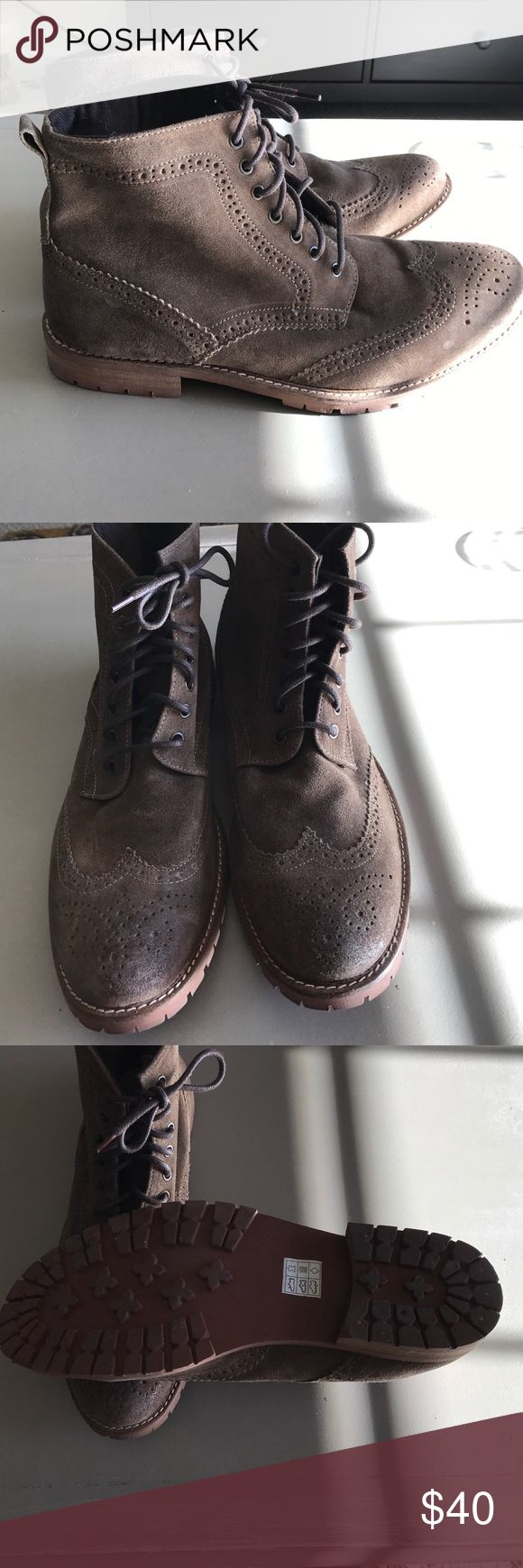 Men's suede wingtip boots Men's Studio Ink wingtip suede boots. Size 12. Work for just for one event for a couple hours. Studio Ink Shoes Boots