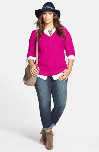 Halogen® Cashmere Sweater, Vince Camuto Tunic Shirt & DKNY Jeans Sculpted Slim Jeans (Plus Size)  available at #Nordstrom