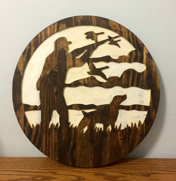 Ducks Unlimited Home Decor: Man And Dog Duck Hunting Silhouette Wall Decor By