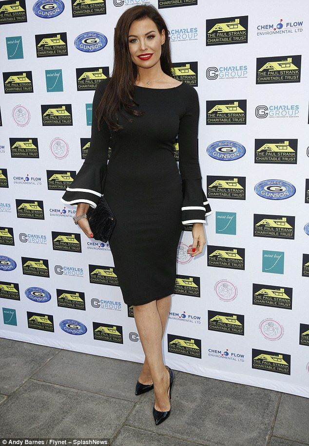 Wow:Jessica Wright oozed elegance in a black bodycon dress with billowing sleeves at the ...