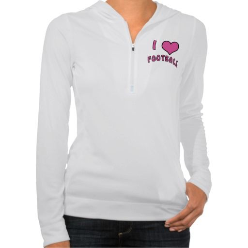 Pink Heart and I Love Football Hoodie for Women.  Made to go with the Football Leggings on this web page: See ALL Custom and Personalized Football Gifts CLICK HERE: http://www.zazzle.com/littlelindapinda/gifts?cg=196532339247083789&rf=238147997806552929*/  Football Leggings, Personalized Football Gifts, Keychains, Football Ornaments and so much more. ALL of Little Linda Pinda Designs CLICK HERE: http://www.Zazzle.com/LittleLindaPinda*/