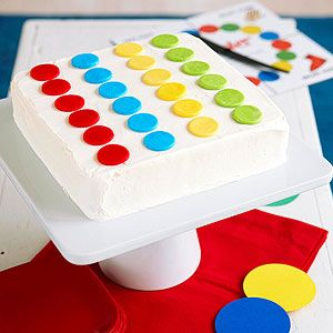 Twister Cake! Such a fun idea for a kids game party (via @Parents Magazine): Twister Games, Birthday Parties, Twister Parties, Awesome Ideas, Parties Ideas, Games Parties, Fruit Chewing, Twister Cakes, Birthday Cakes