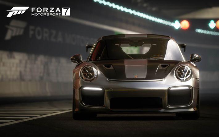 Download wallpapers 4k, Forza Motorsport 7, racing simulator, 2017 games, Porsche 911