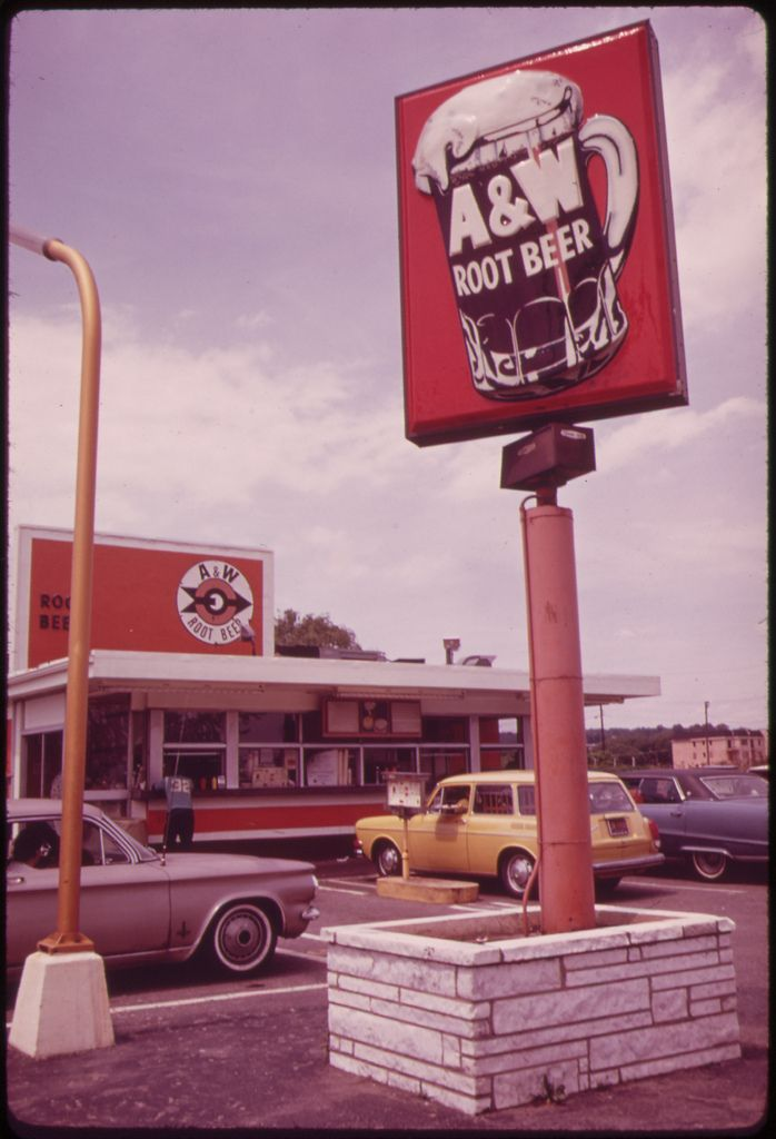 A & W Root Beer - Vintage Signage - Roadside Eating on Hylan Boulevard in Staten Island 06/1973 - Photographer: Tress, Arthur | The U.S. National Archives on Flickr