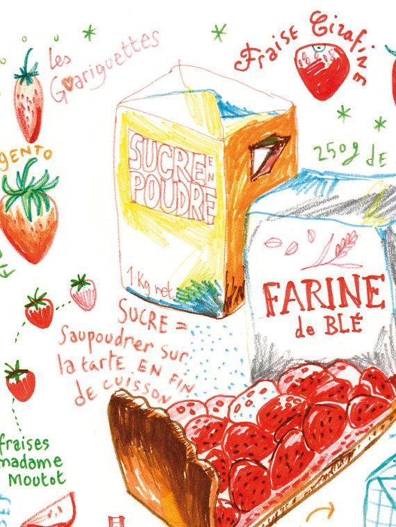Crostata di fragole illustrato poster stampa di lucileskitchen
