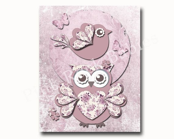 Baby nursery decor girl nursery art print owl by PinkRockBabies