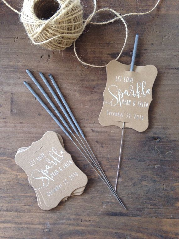 Wedding Sparkler Tag-Set of 24-Sparkler Sleeves, Custom Sparkler Tags, Rustic Sparkler Tags, Sparkler Send Off  Let Love Sparkle and Sparkle These custom printed sparkler tags will be perfect to send you off in sparkling style!  Set of 24 natural kraft tags per qty of 1, printed in your choice of white ink or black ink & personalized with your names and special date. Tags Measure appx 2x3 each.  (Please note that Sparklers not included & I recommend the smaller size sparklers for thi...