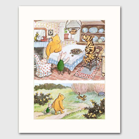 Winnie the Pooh Decor w/Mat Pooh and Piglet Art by CloudNinePrints