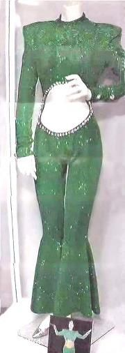 Selena's 1995 Green bell-bottom outfit that used to be display in the Selena Museum