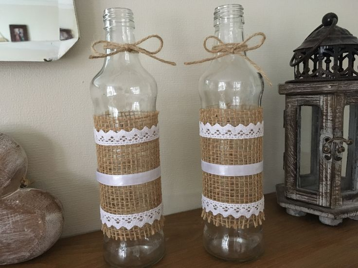 Hessian and ribbon jars, wedding centrepieces #weddingcentrepieces #hessianjars #decoratedvases #roseybuddles #vintagewedding #hessianwedding #vintagehome #shabbychichome