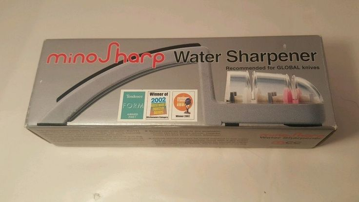MinoSharp 220/GB Ceramic Wheel Water Sharpener, Grey/Black knife cutlery  NIB #Global