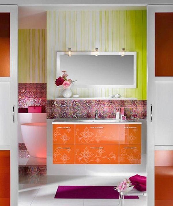 Die besten 25+ Orange bathrooms inspiration Ideen auf Pinterest - farben im interieur stilvolle ambiente