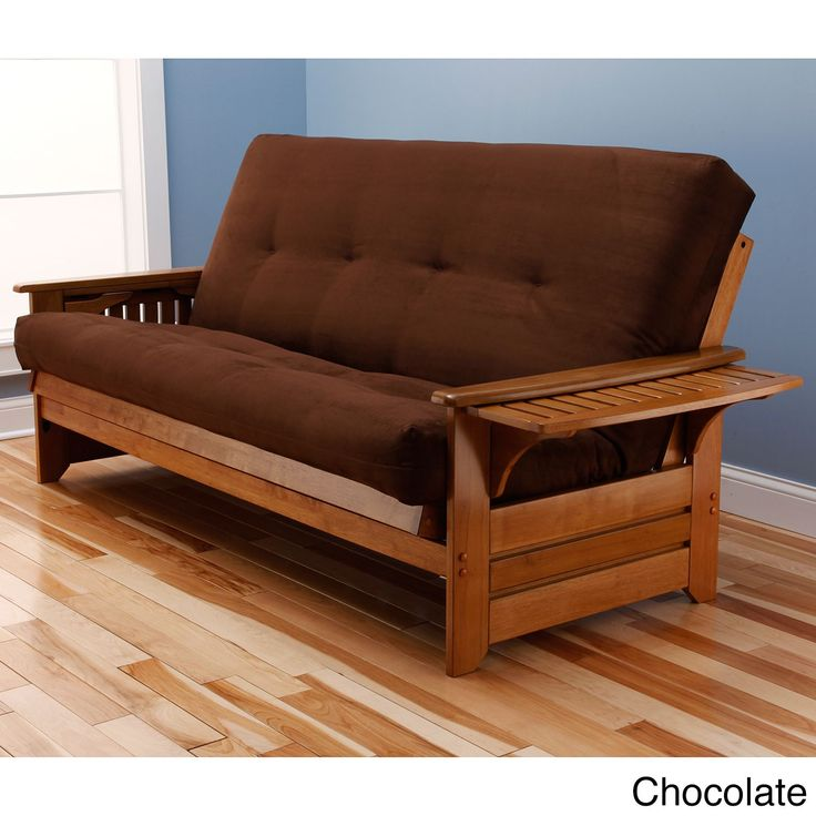 Somette Ali Phonics Multi Flex Honey Oak Full Size Wood Futon Frame With Innerspring Suede Mattress Chocolate Brown