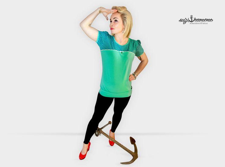 """T-Shirts mit Print - Suzi.Ramone Shirt""""Luci"""" türkise Punkte Zackenlitze - ein Designerstück von ByRamone bei DaWanda"""