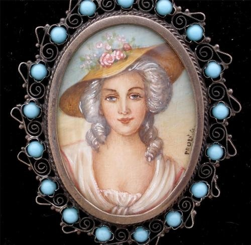 Antique 800 Silver Signed Hand Painted Cameo Portrait Blue Bead Pendant Brooch | eBay