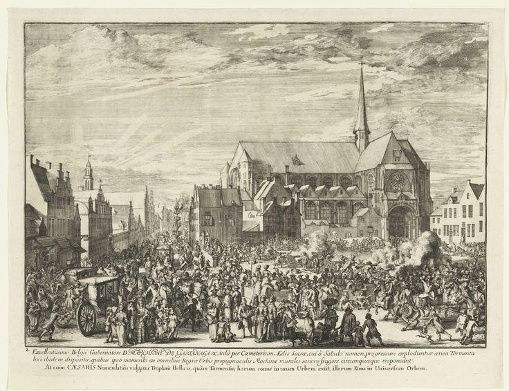 Romeyn de Hooghe | Intocht van Leopold I in Brussel, 1686, Romeyn de Hooghe, 1686 - 1687 | Intocht van Leopold I in Brussel, 1686. Op een druk plein worden voor de Onze-Lieve-Vrouw ten Zavel ceremonieel kanonnen afgevuurd. Links op de voorgrond rijden koetsen en rechtsvoor komen ruiters aangereden. Links op de achtergrond wordt vuurwerk afgestoken.