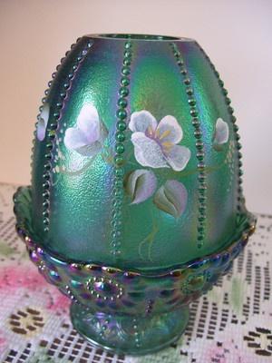 Fenton Green Iridized Carnival Glass '' Fairy Lamp '' HP Flowers 95 Years
