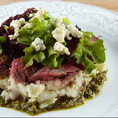 Flank Steak with Mashed Potatoes, Pesto and Gorgonzola Cheese