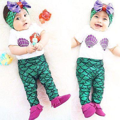 Kids Baby Girl Clothes Shell Tops T-shirt+Mermaid Pants Leggings Outfits Set