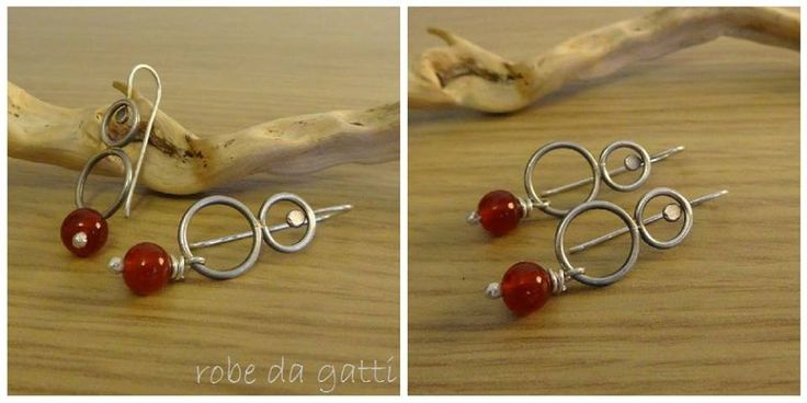 Silver and red glass beads earrings Handmade by robe da gatti (http://www.facebook.com/robedagatti)