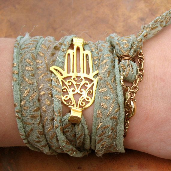 Bohemian Silk Wrap Bracelet - Hamsa Hand Sage Green and Gold Wrap Bracelet - Boho Bracelet