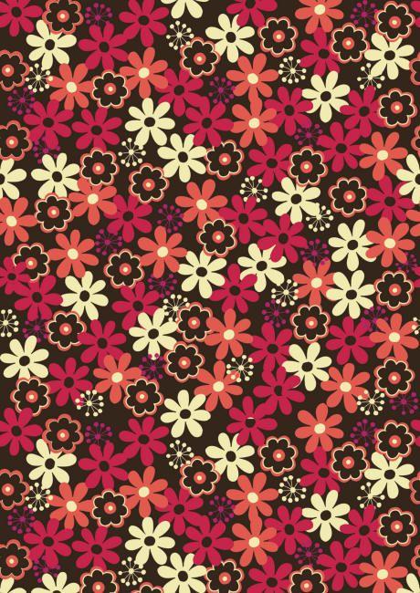 Funky brown flowers scrapbook paper (cliquer au dessus de l'image pour ouvrir PDF)