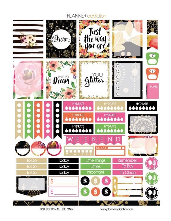 Planner Addiction | Free Printable Sticker Set