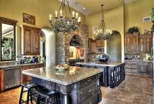 Mediterranean Kitchen with Simple granite counters, Breakfast bar, Complex Granite, Simple Granite, Complex granite counters