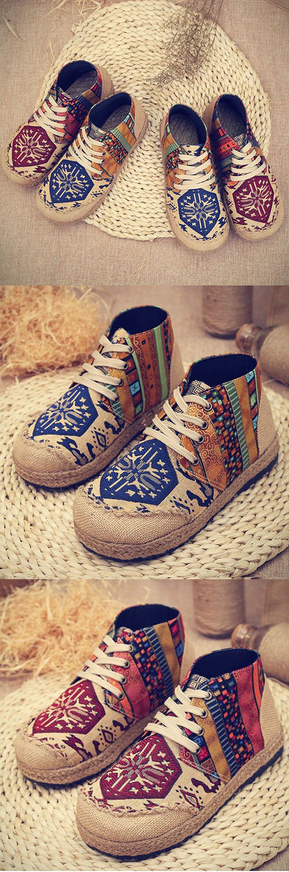 US$22.20 Vintage Colorful Pattern Canvas #Boots