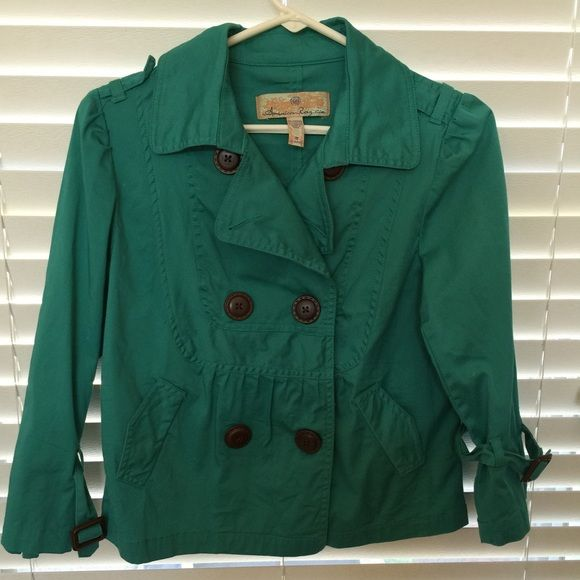 Teal American Rag jacket Beautiful teal jacket that has slightly cropped sleeves and length that makes it super versatile. It just needs to be pressed a little. Otherwise nearly new and only worn once for a few hours. I love American Rag clothing! Purchased at Macy's. American Rag Jackets & Coats