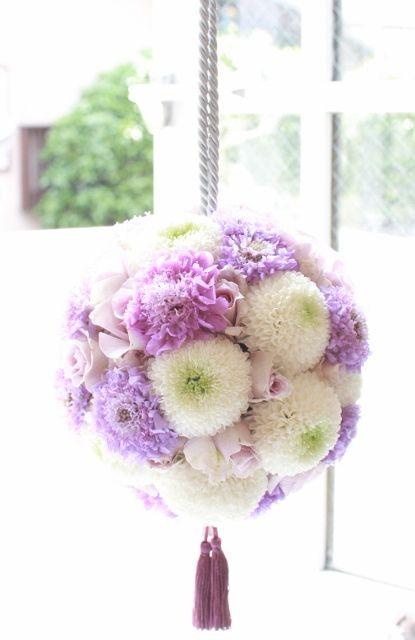 ボールブーケ白x 紫