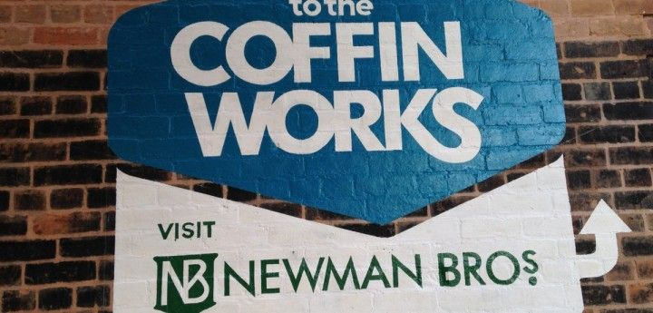 Newman Bros Coffin Works Traditional Signage: Birmingham Signwriters - Get Hand Painted Signs - HNS Signs