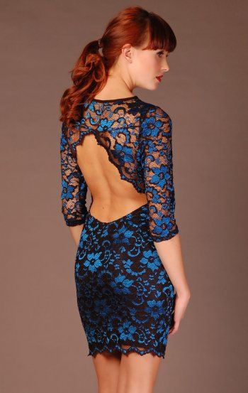 John Zack Black And Blue Lace Backless Bodycon Dress