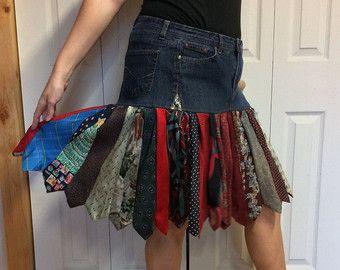 Upcycled Denim Size rok/Plus Jean rok/knie lengte rok/gerecycled stropdas rok/Stretch Denim/voorzien kleding/Womens grootte groot voor XL
