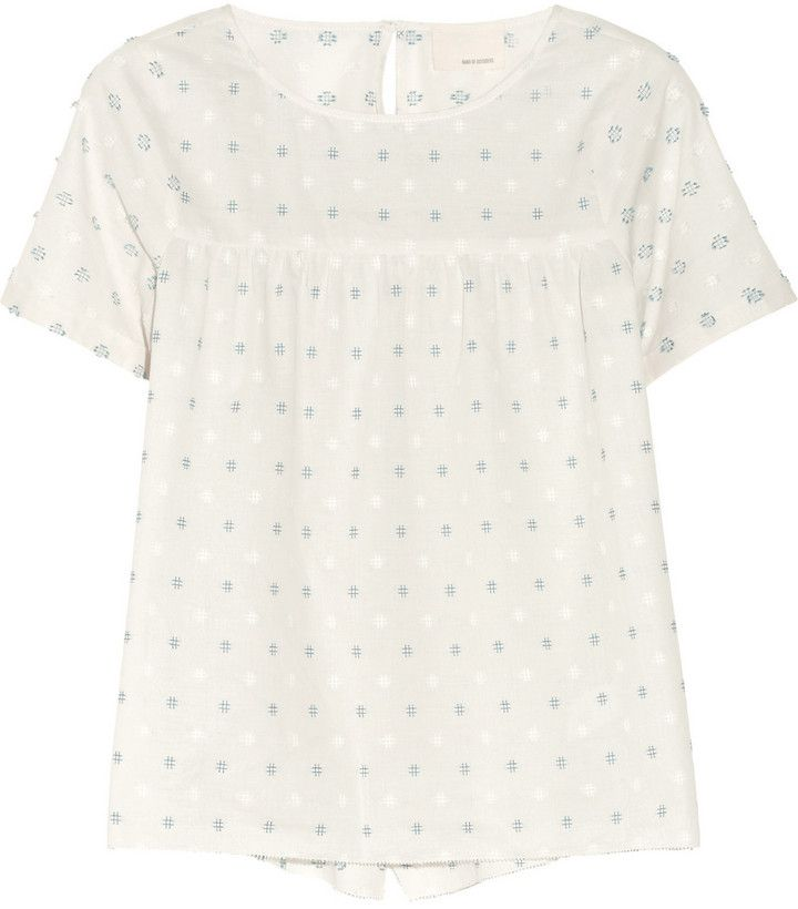 Band Of Outsiders Split-back embroidered cotton top on shopstyle.co.uk