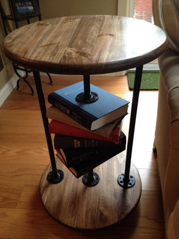 Book Lovers II round industrial end table side by MARmadebyhand