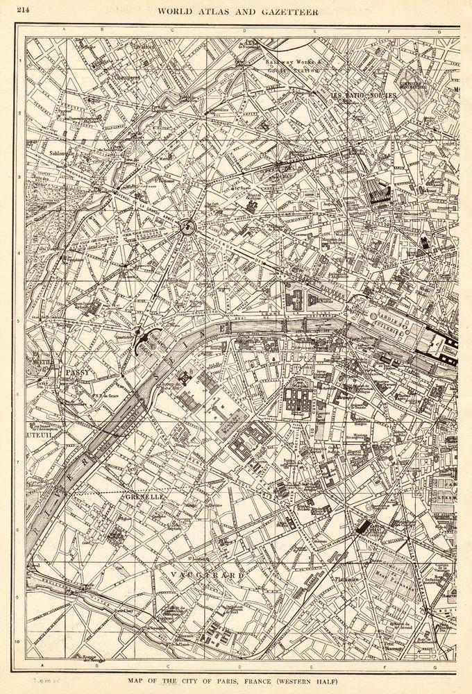1917 Antique PARIS Map Vintage City Map of Paris France Gallery Wall ...