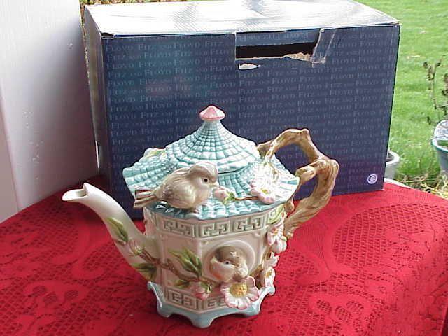 Fitz Floyd Empress Garden Teapot with Birds & Flowers