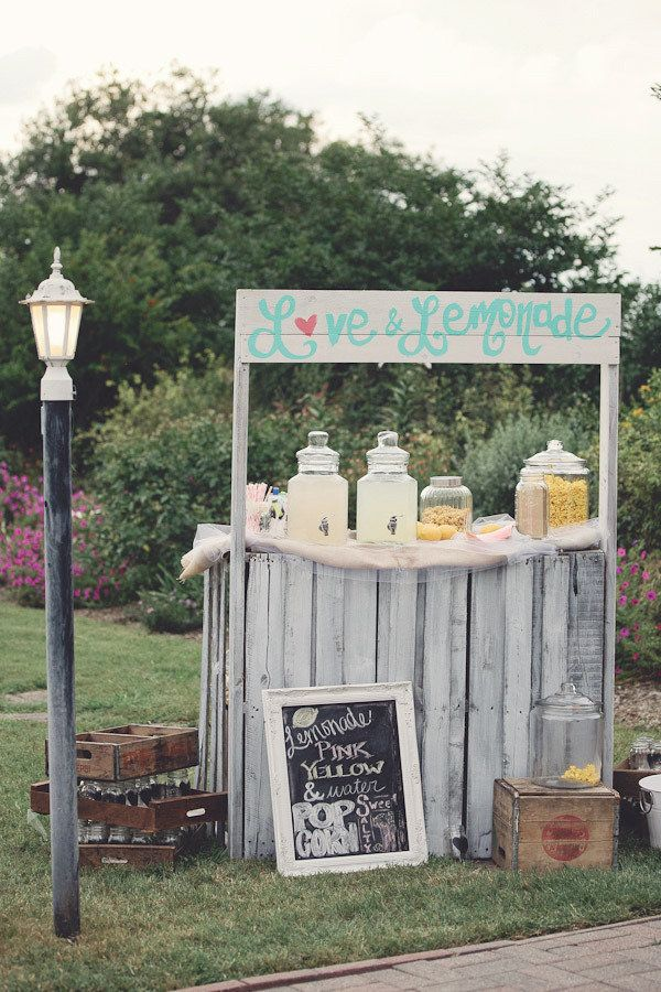 Wedding day lemonade stand for outdoor ceremony