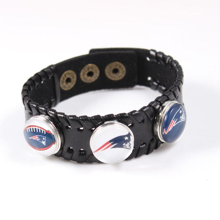 Black Genuine Leather Bracelet 18mm New England Football Patriots Snap Button Charms Sports Adjustable Mens Bracelet Jewelry