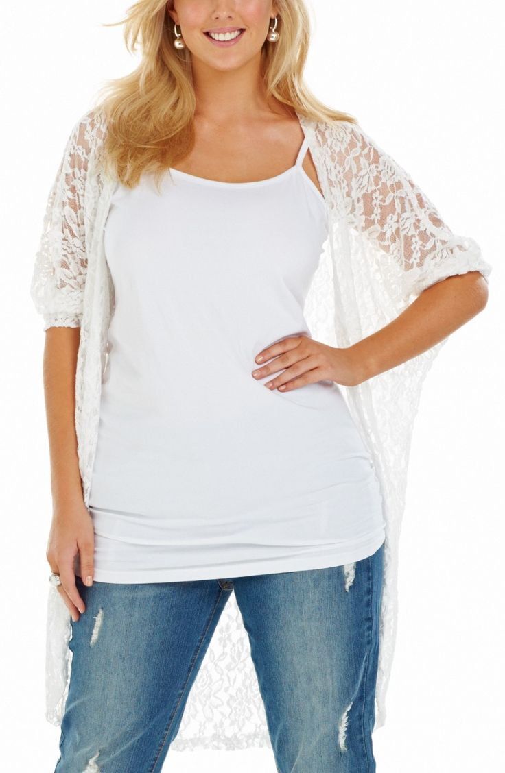 Long Line Lace 'Throw On'/off white Style No: JK11118 Stretch lace long Line lace Throw on jacket. This is such a great wardrobe addition. This jacket has 3/4 length dolman sleeves. Perfect summer throw on . #dreamdiva #dreamdivafiles #plussize