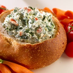 Spinach Dip! Using Knorr or Lipton dry seasoning, 8oz sour cream, 8oz mayo (the real thing:), bag of fresh spinach. Mix then chill 2+hrs. I add a pinch of pepper and garlic powder.