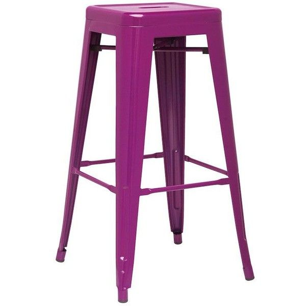 Set of 4 Detroit Tall Purple Industrial Metal Bar Stools (615 CAD) ❤ liked on Polyvore featuring home, furniture, stools, barstools, metal bar stools, purple bar stools, metal counter height stools, metal stools and lacquer furniture