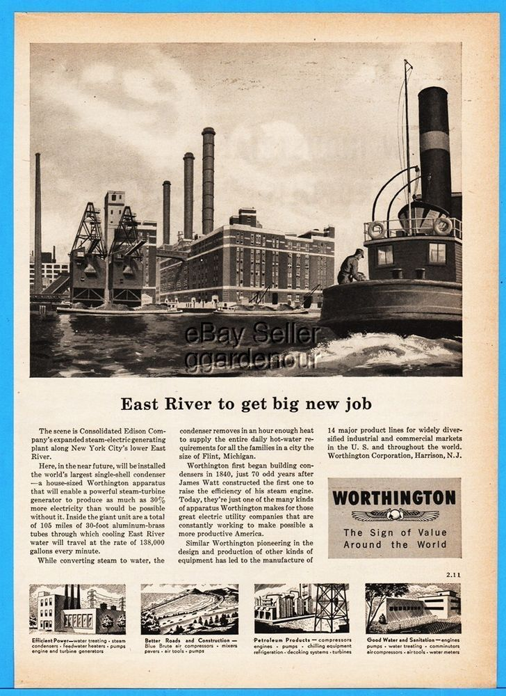1952 Worthington East River NY Consolidated Edison Steam Electric Plant Art Ad  | eBay